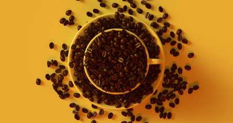 Yellow Coffee Cup an Saucer Full Of Coffee Beans 3d illustration