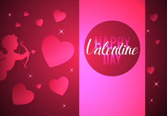 happy valentines day card. hearts background. vector illustration