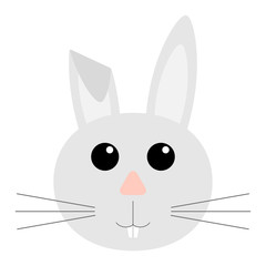 the face of a rabbit. Flat design