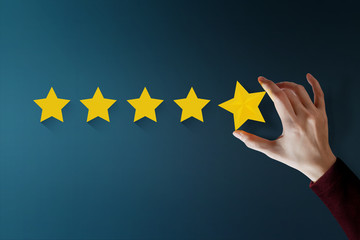 Customer Experience Concept, Best Excellent Services for Satisfaction present by Hand of Client giving a Five Star Rating