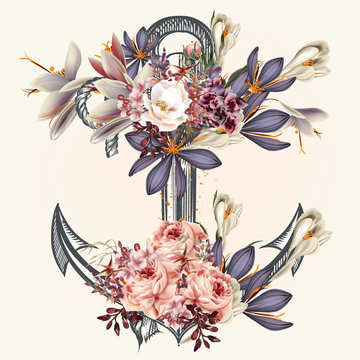 Anchor decorated by spring flowers ideal for labels for logotype or print design in vintage style