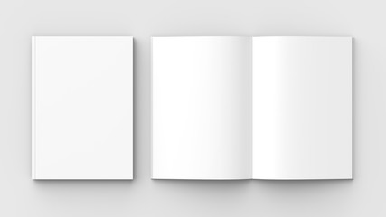 Brochure, magazine, book or catalog mock up isolated on soft gray background. 3D illustrating.