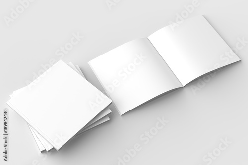 Square brochure, magazine, book or catalog mock up isolated on soft