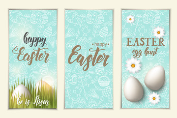 "Set of greeting Easter banners. Tags with eggs on the grass, hand made trendy lettering ""Happy Easter. Egg hunt"" and  pattern with paschal symbols in sketch style."