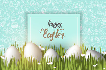 "Greeting Easter background with eggs on the grass, hand made trendy lettering ""Happy Easter"" and  pattern with paschal symbols in sketch style. Banner, flyer, brochure. For holidays, postcards,website"