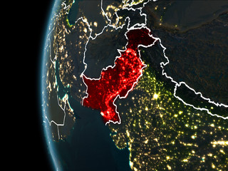 Pakistan from space at night