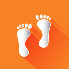 Footprint vector icon with shadow.