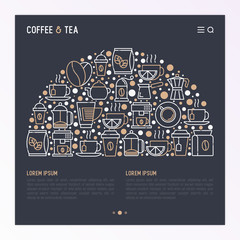 Coffee and tea concept in half circle with thin line icons: take away paper cups, cezve, coffee machine, teapot, cappuccino, cup, tea with lemon, grinder. Vector illustration for web page template.