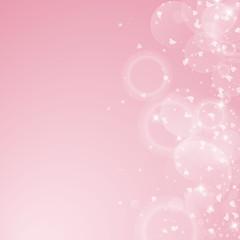 Falling hearts valentine background. Scatter right gradient on pink background. Falling hearts valentines day exceptional design. Vector illustration.