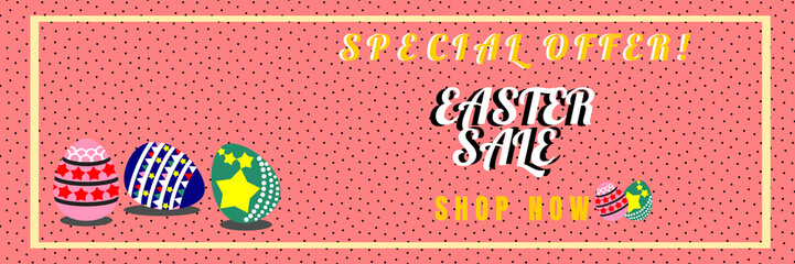 Vector illustration of Easter sale banner with Easter eggs for online shopping, advertising and website.
