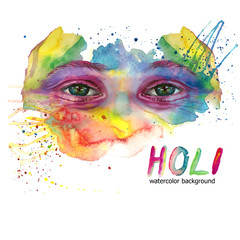 Watercolor drawing of a man's head is dirty in paint, multi-colored face, portrait, opened eye, glare on iris of the eye, on holiday holi, indian holiday, with element of splashed paint on white backg