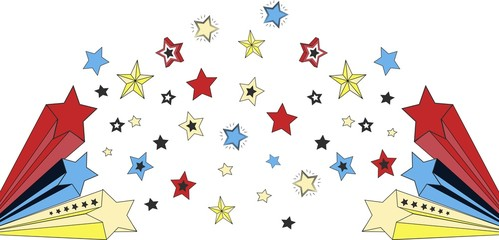 background of drawn colored stars