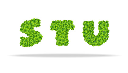 Alfavit from the leaves of the clover. Letters STU.