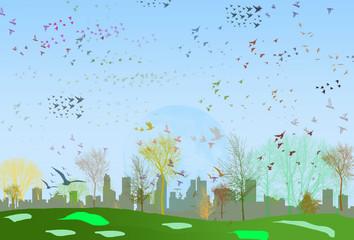 Vector parque cpn pájaros en la ciudad