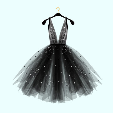 Black fancy dress for special event with decor. Vector Fashion illustration for online shop