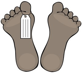 Illustration of two dead black feet with a toe tag hanging from one.