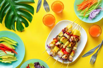 Hawaiian chicken grilled kabob summer concept