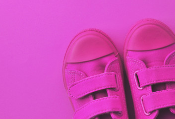 Kids shoes on a colofrul background