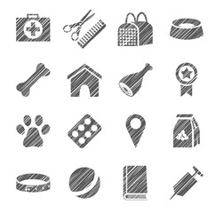 Pet products, icons, grey, shading with pencil, vector. The goods for Pets. Monochrome icons. Hatch grey pencil on a white field. Imitation. Vector clip art.
