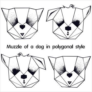Stylized dog face contour