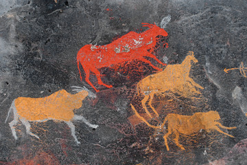 Bushmen (san) rock painting of antelopes, South Africa.