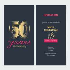 50 years anniversary invitation vector card