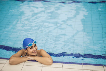 Smiling swimmer in the water