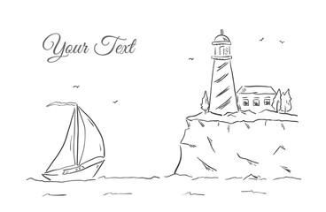 Hand drawn sketch with yacht and lighthouse. Line design