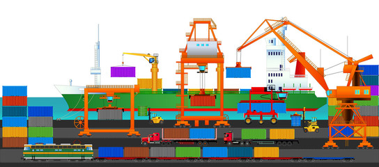 Sea port, commercial dock, side view, vector