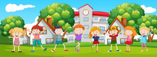 Happy children at school scene
