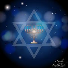 Happy Hanukkah with jews symbol and lights