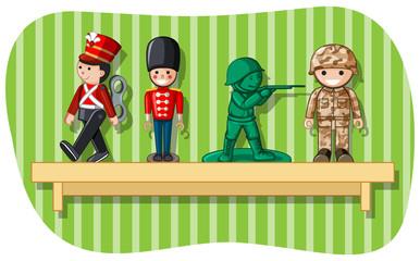 Soldier figures on wooden shelf