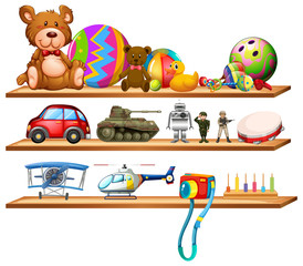 Toys on wooden shelves