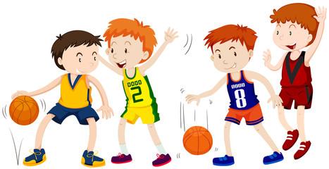 Boys playing basketball on white background