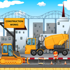 Construction works along the street