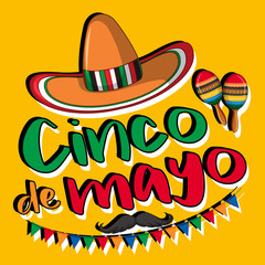 Cinco de mayo poster design with hat and maracas