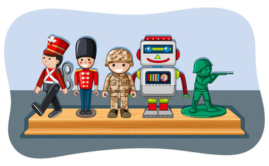Soldier figures and robot on wooden shelf