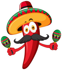 Red chili wearing hat and shaking maracas