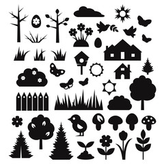 Isolated silhouettes of nature design elements. Flat vector set.