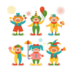 Cute clown character design set
