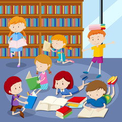 Many students reading books in library