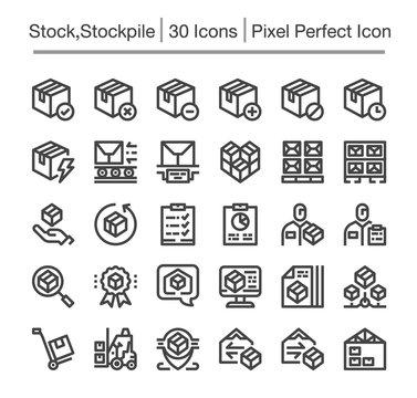 stock,stockpile line icon set