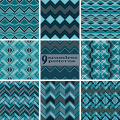 Set of seamless geometric patterns with zigzag and dots
