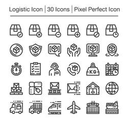 logistic line icon set