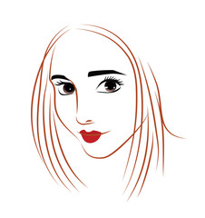 vector beauty face girl, hand drawn portrait of romantic beautiful girl