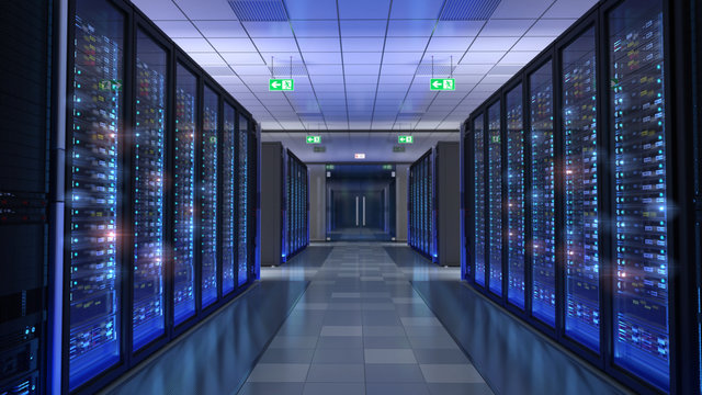 Server room, bit coin mining, supercomputing, command center
