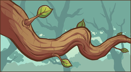Tree branch on a forest background. Vector clip art illustration with simple gradients. Some elements on separate layers.