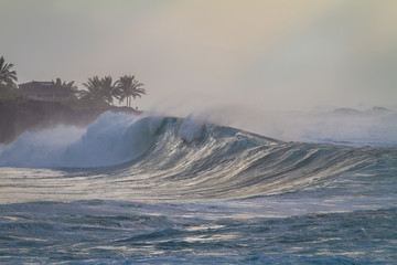 Epic Ocean Wave at Waimea bay in Hawaii