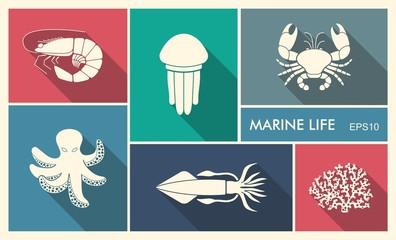 Marine life. Vector illustration