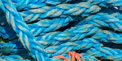 Ropes on boat in port of Norway, Europe